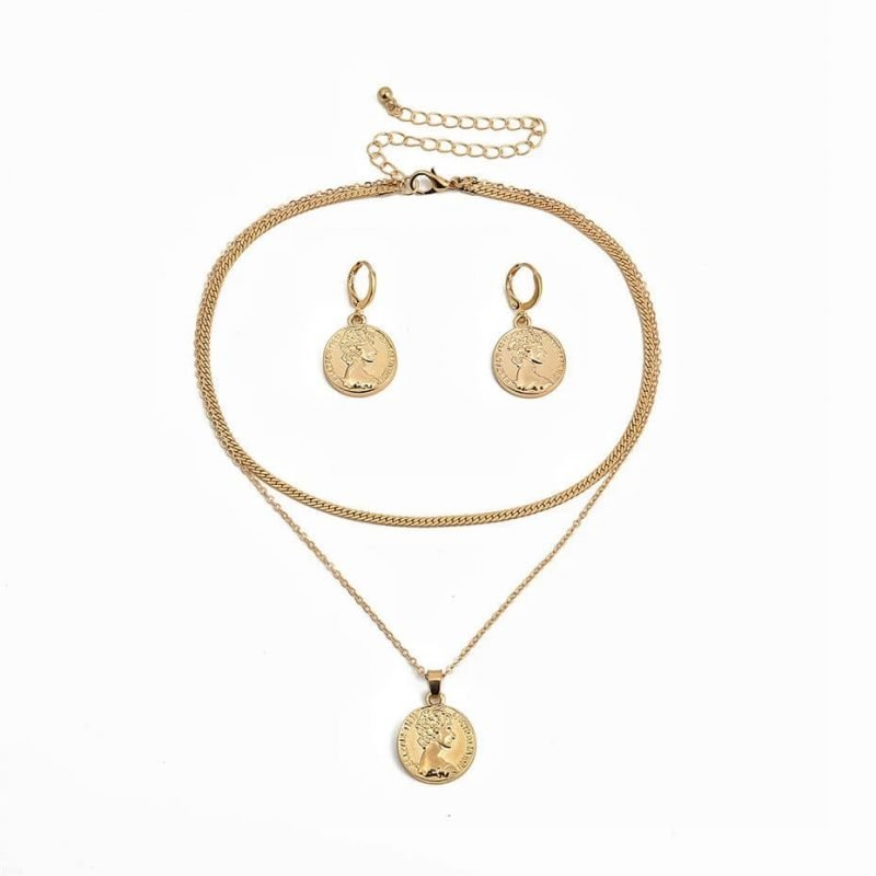 Coin Necklace + Earring Set (Gold)