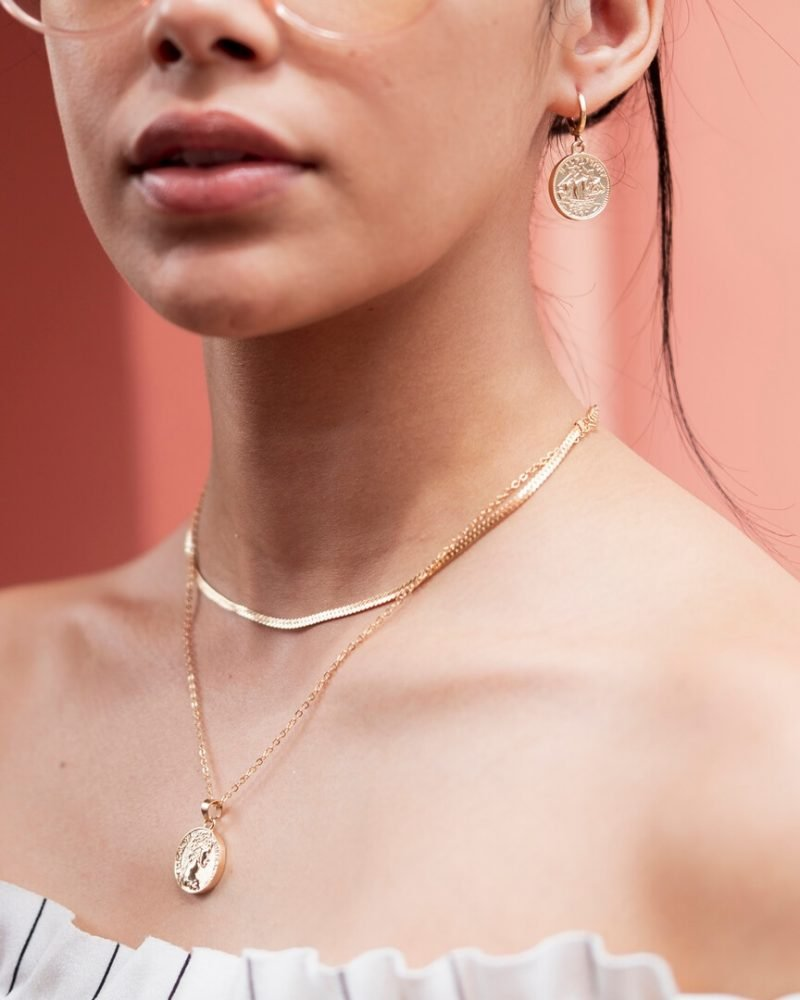 Coin Necklace + Earring Set