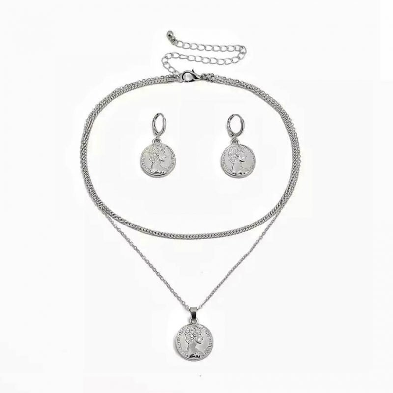 Coin Necklace + Earring Set (Silver)